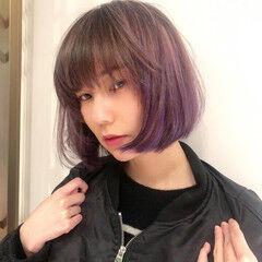 モード パープルカラー カラーバター ボブ ヘアスタイルや髪型の写真・画像