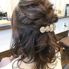 フェミニン ヘアアレンジ ミディアム ヘアセット ヘアスタイルや髪型の写真・画像