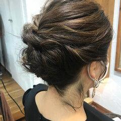 編み込みヘア 簡単ヘアアレンジ 結婚式ヘアアレンジ エレガント ヘアスタイルや髪型の写真・画像