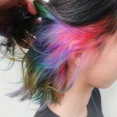 銀座美容室 カラーバター インナーカラー ブリーチカラー ヘアスタイルや髪型の写真・画像