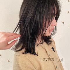 大人かわいい ミディアム ミディアムレイヤー ストリート ヘアスタイルや髪型の写真・画像