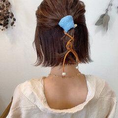 外ハネボブ ポニーテールアレンジ セルフアレンジ ボブ ヘアスタイルや髪型の写真・画像