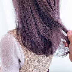 パープルアッシュ パープルカラー ナチュラル 透明感カラー ヘアスタイルや髪型の写真・画像