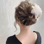 結婚式ヘアアレンジ 結婚式 外国人風カラー セミロング