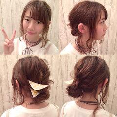ヘアアレンジ バレッタ ショート お団子 ヘアスタイルや髪型の写真・画像