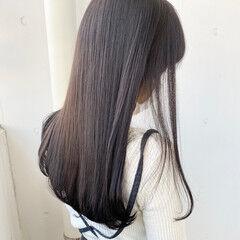 地毛風カラー ロング ラベンダーグレージュ ナチュラル ヘアスタイルや髪型の写真・画像