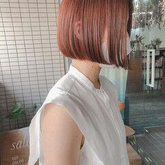 ミニボブ オレンジブラウン ダブルカラー ボブ ヘアスタイルや髪型の写真・画像