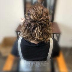 ヘアセット ボブ 編み込み ハーフアップ ヘアスタイルや髪型の写真・画像