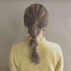 たまねぎアレンジ ポニーテール 簡単ヘアアレンジ セミロング ヘアスタイルや髪型の写真・画像