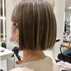 ハイライト インナーカラー ミニボブ ストレート ヘアスタイルや髪型の写真・画像