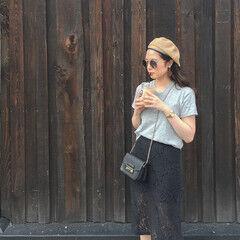 外国人風 アウトドア セミロング ベレー帽 ヘアスタイルや髪型の写真・画像