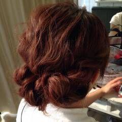 ナチュラル ゆるふわ ヘアアレンジ マルサラ ヘアスタイルや髪型の写真・画像
