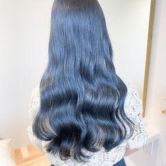 セミロング ブルーブラック ナチュラル ブルージュ ヘアスタイルや髪型の写真・画像