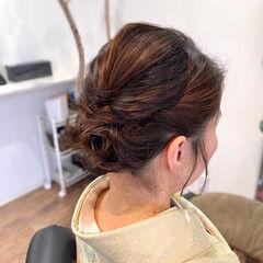 ヘアアレンジ ボブアレンジ お呼ばれヘア ナチュラル ヘアスタイルや髪型の写真・画像