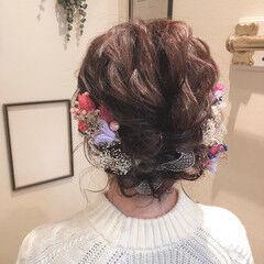 卒業式 ヘアアレンジ ミディアム ガーリー ヘアスタイルや髪型の写真・画像