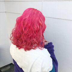 ガーリー ラズベリーピンク ピンクラベンダー ピンク ヘアスタイルや髪型の写真・画像