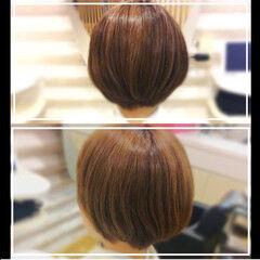 大人女子 小顔 フェミニン ボブ ヘアスタイルや髪型の写真・画像