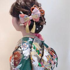 成人式 セミロング 振袖 ヘアアレンジ ヘアスタイルや髪型の写真・画像