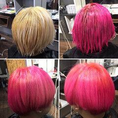 ホワイトブリーチ ショート ブリーチ コリアンピンク ヘアスタイルや髪型の写真・画像