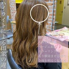 ハイライト デジタルパーマ グレージュ イルミナカラー ヘアスタイルや髪型の写真・画像