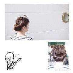ギブソンタック ショート ヘアアレンジ セミロング ヘアスタイルや髪型の写真・画像