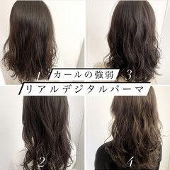 バレイヤージュ ナチュラル セミロング デジタルパーマ ヘアスタイルや髪型の写真・画像