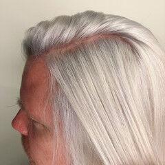 ホワイトカラー ミディアム プラチナブロンド 外国人風カラー ヘアスタイルや髪型の写真・画像