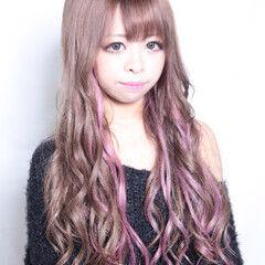 ロング 透明感 ガーリー ベリーピンク ヘアスタイルや髪型の写真・画像