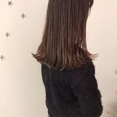 ナチュラル ベージュ ワンカール ミディアム ヘアスタイルや髪型の写真・画像