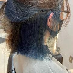 ミディアム インナーカラー 外国人風カラー カジュアル ヘアスタイルや髪型の写真・画像