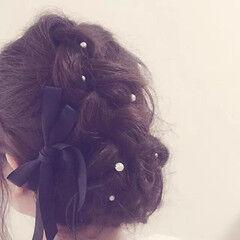 ヘアアレンジ パールアクセ ヘアスタイルや髪型の写真・画像