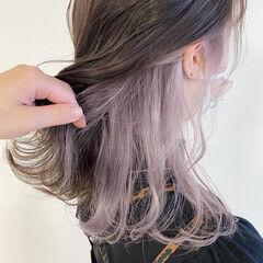 パステルカラー ラベンダー ナチュラル インナーカラー ヘアスタイルや髪型の写真・画像