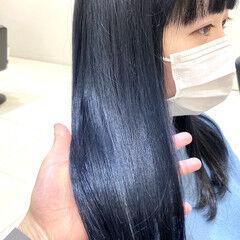 ネイビー ネイビーアッシュ ミディアム ハイトーンカラー ヘアスタイルや髪型の写真・画像