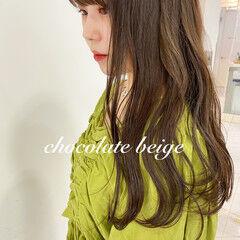 秋ブラウン セミロング ショコラブラウン ブラウンベージュ ヘアスタイルや髪型の写真・画像