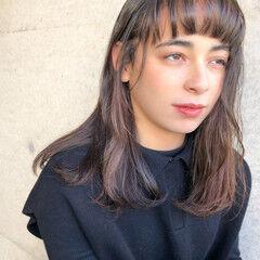 ワンカールパーマ ミディアム ナチュラル ワンカール ヘアスタイルや髪型の写真・画像
