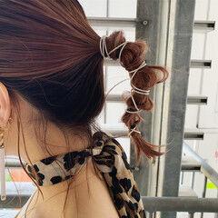 ネジネジポニー ミディアム 切りっぱなしボブ 外ハネボブ ヘアスタイルや髪型の写真・画像