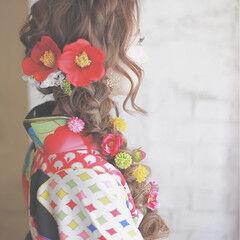 ヘアアレンジ ロング 花 成人式 ヘアスタイルや髪型の写真・画像