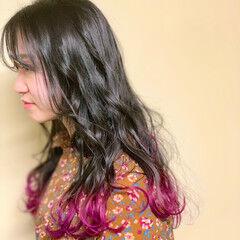 ナチュラル 韓国ヘア ロング ハイトーンカラー ヘアスタイルや髪型の写真・画像