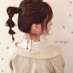 ミディアム ガーリー ラベンダーピンク 簡単ヘアアレンジ ヘアスタイルや髪型の写真・画像