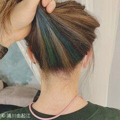 ロング インナーカラー ストレート ハイライト ヘアスタイルや髪型の写真・画像