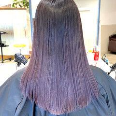 ブラックバイオレット セミロング バイオレットカラー バイオレットアッシュ ヘアスタイルや髪型の写真・画像