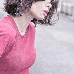 ボブ パーマ サーフスタイル ナチュラル ヘアスタイルや髪型の写真・画像