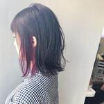 艶髪 ミディアム パープル インナーカラー