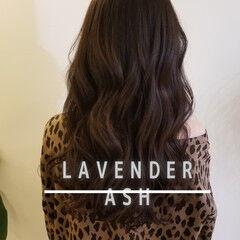 エレガント ロング ラベンダーグレー ラベンダーアッシュ ヘアスタイルや髪型の写真・画像