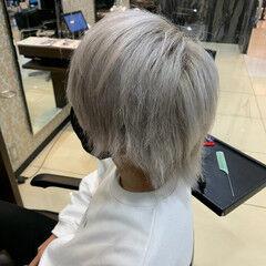 ショート ガーリー メンズヘア ホワイトカラー ヘアスタイルや髪型の写真・画像