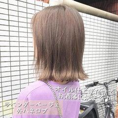 ボブ ナチュラルブラウンカラー ラベンダーピンク ロブ ヘアスタイルや髪型の写真・画像