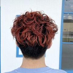 メンズヘア レッド メンズ カシスレッド ヘアスタイルや髪型の写真・画像