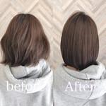 縮毛矯正 ナチュラル ショートボブ 髪質改善トリートメント