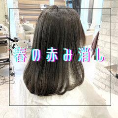セミロング ストレート グレージュ 髪質改善 ヘアスタイルや髪型の写真・画像