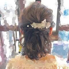 ハーフアップ ヘアアレンジ フェミニン ボブ ヘアスタイルや髪型の写真・画像